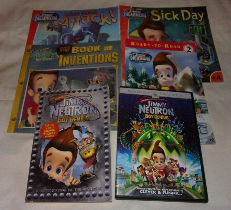 Set of 6 Jimmy Neutron Boy Genius series picture/chapter books + DVD