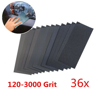 36x Mixed Dry Wet Sandpaper 120-3000 Grit 9x3.6