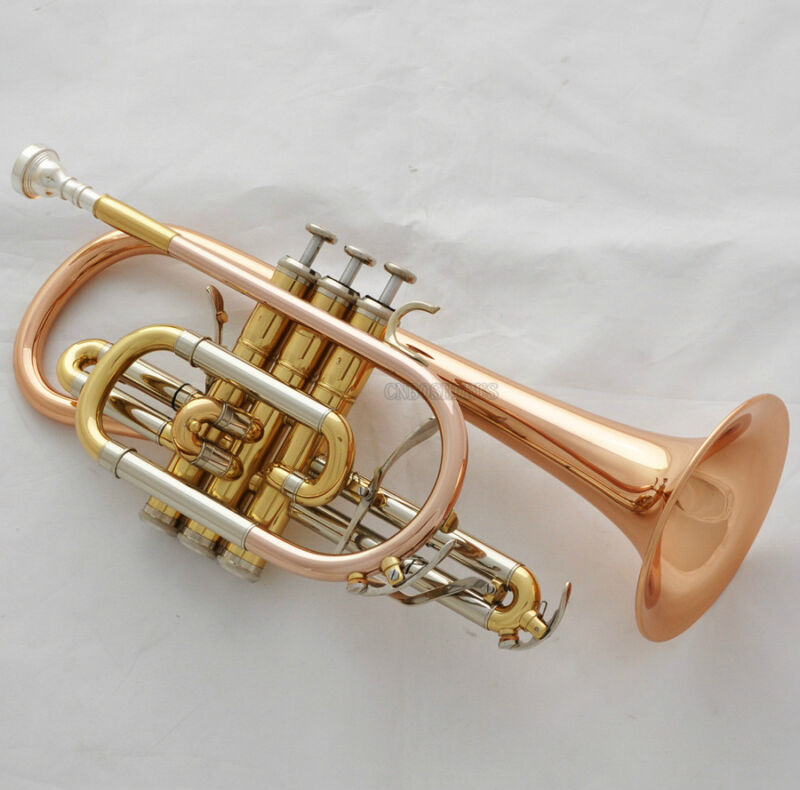 Professional new Rose Brass Cornet Bb Keys Double Triggers Trumpet With Case