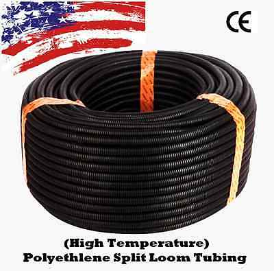 "100 Ft 3/8"" Split Wire Loom Conduit Polyethylene Tubing Black Color Sleeve Tube"