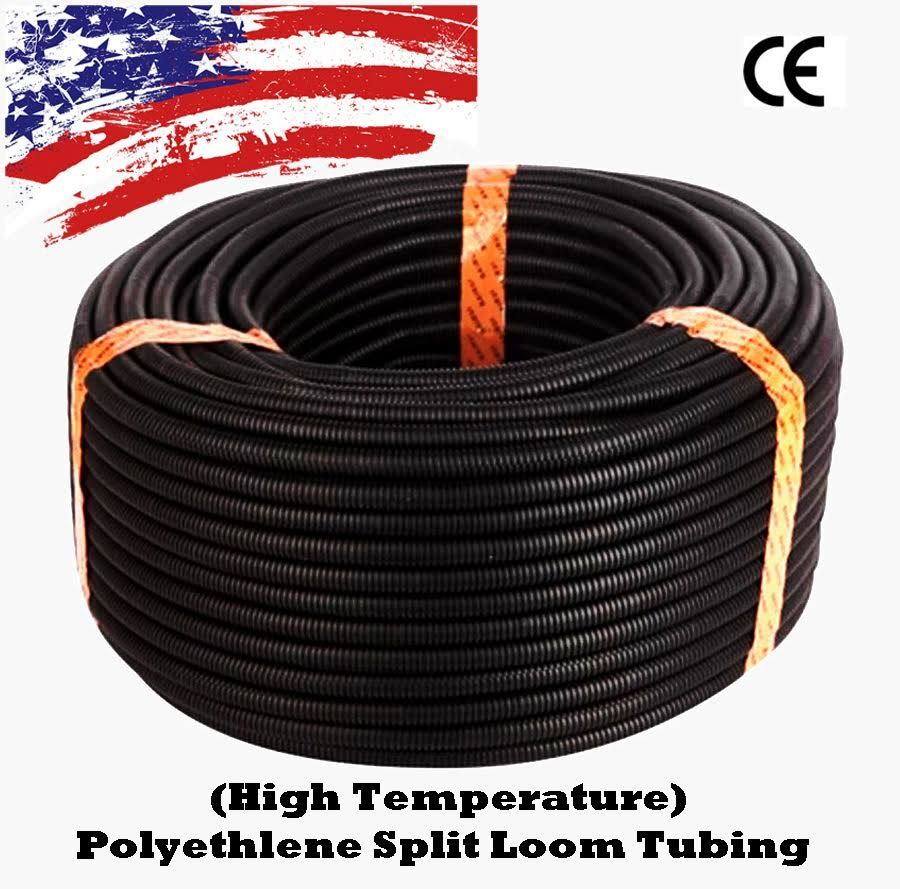"100 Ft 1/4"" Split Wire Loom Conduit Polyethylene Tubing Black Color Sleeve Tube"