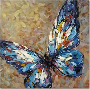 Blue Butterfly Signed Hand Painted Abstract Butterfly Oil ...