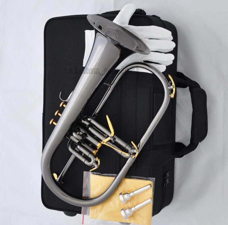 Professional Black nickel Flugelhorn Monel Valve Bb Key Flugel Free 2 Mouthpiece