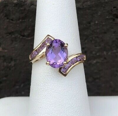 14K GOLD AMETHYST BYPASS RING SIZE 6.75 - Gold Amethyst Bypass Ring