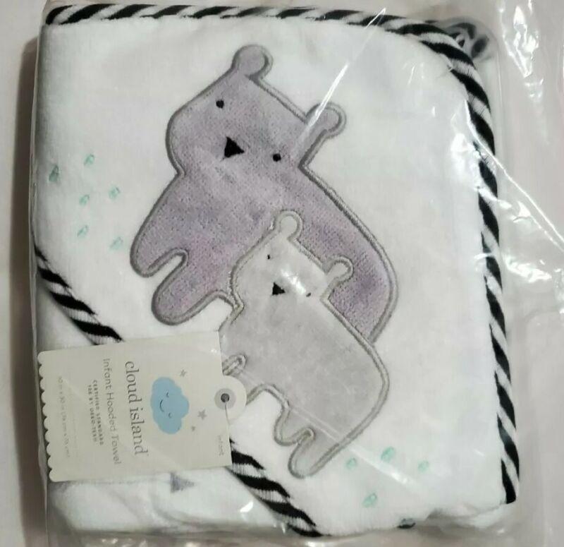Cloud Island Baby Boy Grey Bears Hooded Bath Towel 30inx30in NEW & SEALED!