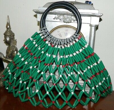 1950s Handbags, Purses, and Evening Bag Styles VINTAGE GAYART 1950s-60s Original Rockabilly Retro Beaded String Handbag $43.44 AT vintagedancer.com