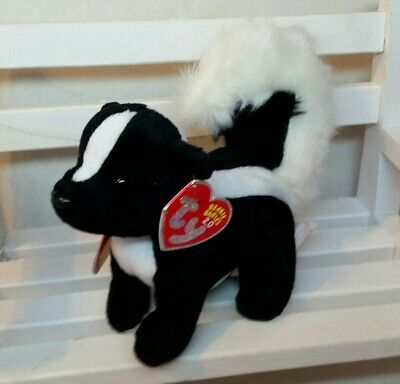 Ty 2.0 Beanie Baby - SKUNKERS Skunk (6 Inch) NEW w/ TAG PROTECTOR & USED CODE