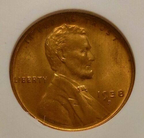 1938-S S/S LINCOLN CENT NGC MS-66 RD RED