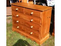 """High Quality Solid Pine Chest of Drawers (46"""" Wide)"""