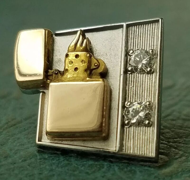 Vintage DIAMOND ZIPPO 10K SOLID GOLD PIN. Thought to find