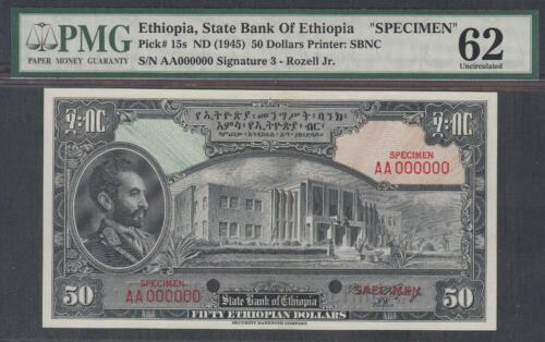 State Bank Of Ethiopia 50 Dollars Banknote P-15s ND (1945) Specimen  PMG 62