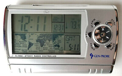 Chass Gen-Probe Global Atomic Radio Controlled Travel Alarm Clock Silver - NICE!