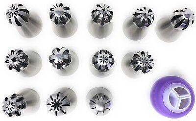 13 PCS Russian Ball Piping Tips Bakers Kit Set for Cake Cupcake Decorating - Decorating Cupcakes