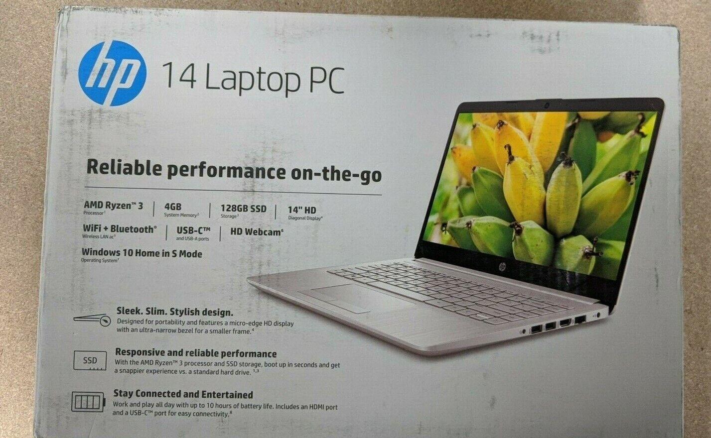 "Laptop Windows - BRAND NEW HP 14"" HD AMD Ryzen 3  4GB 128GB SSD Windows 10 Laptop"
