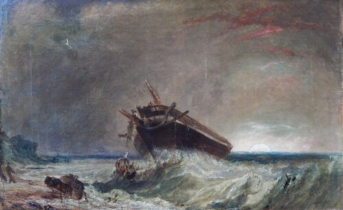 "Unknown Artist ""night Shipwreck"" C1850 (alfred Freke 