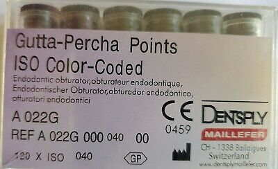 Dentsply Gutta Percha Points Size 40 Iso Color Coded Box Of 120