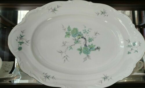 "Mitterteich  Bavaria Germany ""Green Ming"" Serving Platter Porcelain Beautiful!"