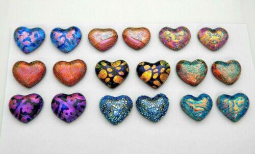 PREMIUM SMALL HEART Lot of 18 pcs handmade DICHROIC earrings FUSED GLASS (BC20)