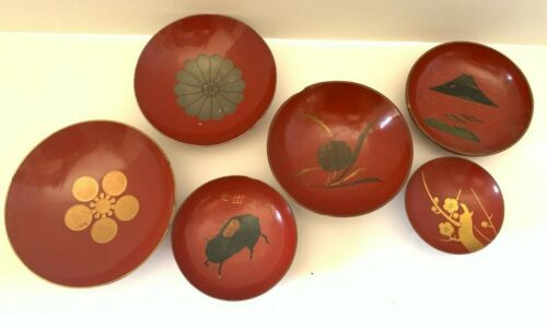 Vintage Japanese Lacquer: Assorted Red Lacquer Plates  (X62)
