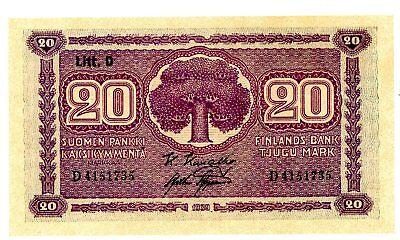 Finland ... P-71a ... 20 Markkaa ... 1939 ... *AU-UNC*