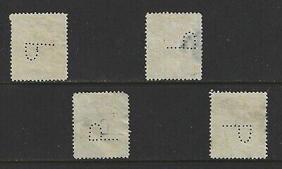 Canal Zone Official Perfin P Set of 4 Positions out of 8 on Scott #52