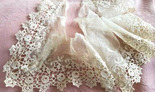 Gorgeous Antique Lace Schiffli Net Trim for Sewing Doll Collars VTG Scrap Books