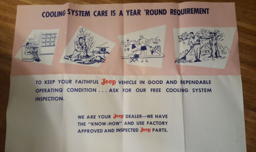 Jeep Dealer Poster Cooling System Care is a Year Round Requirement 1950s