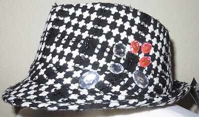 Madd Hatter Women's Black White Rhinestone Hat NEW
