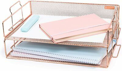 Rose Gold Letter Tray - 2 Tier Rose Gold Desk Organizer For Women