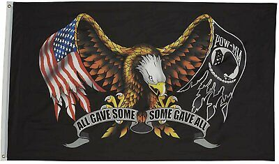 Veteran POW MIA All Gave Some Some Gave All Eagle Polyester 3x5FT Flag Military Décor