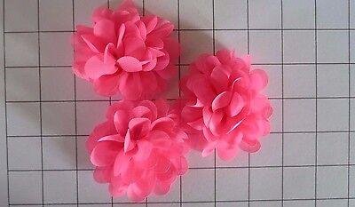 "Set of 3 2.75"" Neon Pink Chiffon Flowers Embellishments Dance Costumes! (I-7)"