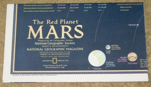 VINTAGE 1973 NATIONAL GEOGRAPHIC MAGAZINE - THE RED PLANET MARS MAP