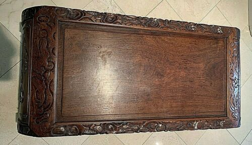 Antique Asian Exotic Wood Hand Carved Table