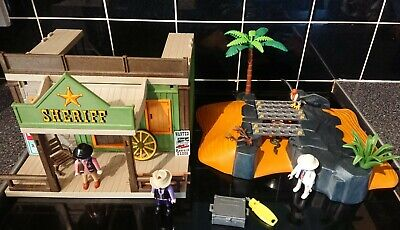 PLAYMOBIL Western Sheriff's office set 3786 Jail & canyon scenery + extras Toys