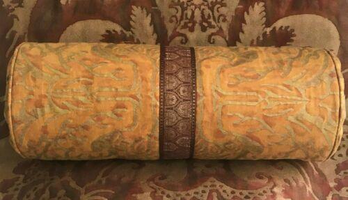 Fortuny Boucher Bolster Pillow w/Silk & Metallic Ribbon Pleated & Button Ends