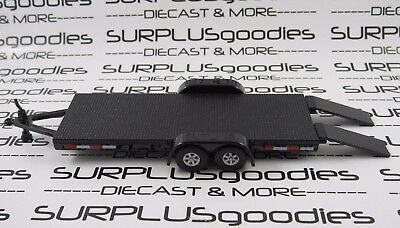 Johnny Lightning 1 64 Scale Loose Black Car Hauler Trailer With Working Ramps