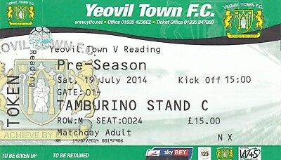 Ticket - Yeovil Town v Reading 19.07.14 Friendly