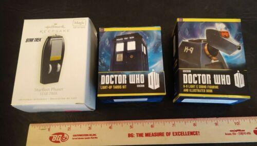 HALLMARK KEEPSAKE STAR TREK PHASER ORNAMENT + Doctor Who TARDIS & K9 figure
