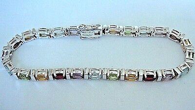 ".925 Sterling Silver Multi-Gemstone Bracelet  -  8""  -  18.5 grams"