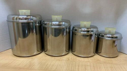 VTG Revere Ware 1801 Stainless Steel Complete Canister Set Of 4 Clear Knobs