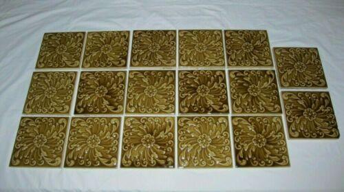 17 Antique Victorian Tiles American Encaustic 6 X 6 Moss Green A.E. Vintage