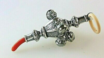Whistle /& Teether Solid Silver Baby Rattle w// Bells