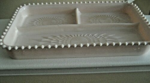 VINTAGE JEANETTE PINK MILKGLASS VANITY TRAY W/HOBNAIL EDGE AND DIVIDED IN 3 SECT