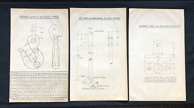 3 X Harland & Wolff Belfast 1930's Drawings HOOKS GALLOW CRANE ROD DIES  - RF10