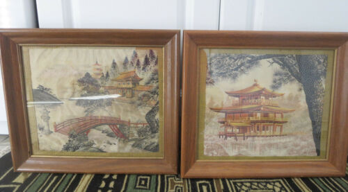 2 Framed ANTIQUE JAPANESE TEXTILE FABRIC PIECES