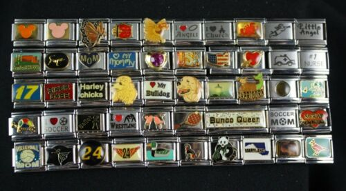 Italian Charms 50 assorted Stainless Steel Wholesale Lot 9mm  (C50-32)