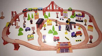 100 Piece Toy - Tooky Toy - 100 Piece Wooden Train Set - Works with Thomas the Train & Brio