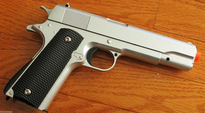 M1911 Replica Handgun Full Metal Silver Airsoft Pistol with 6mm BBs