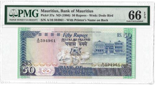 1986 MAURITIUS 50 Rupees, P-37a BWC Printer, PMG 66 EPQ GEM UNC, Pretty Type