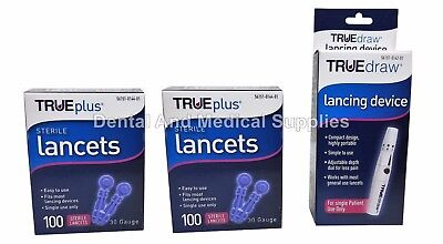 200 True Plus 30G Sterile Lancets + FREE True Draw Lancing Device FREE SHIPPING